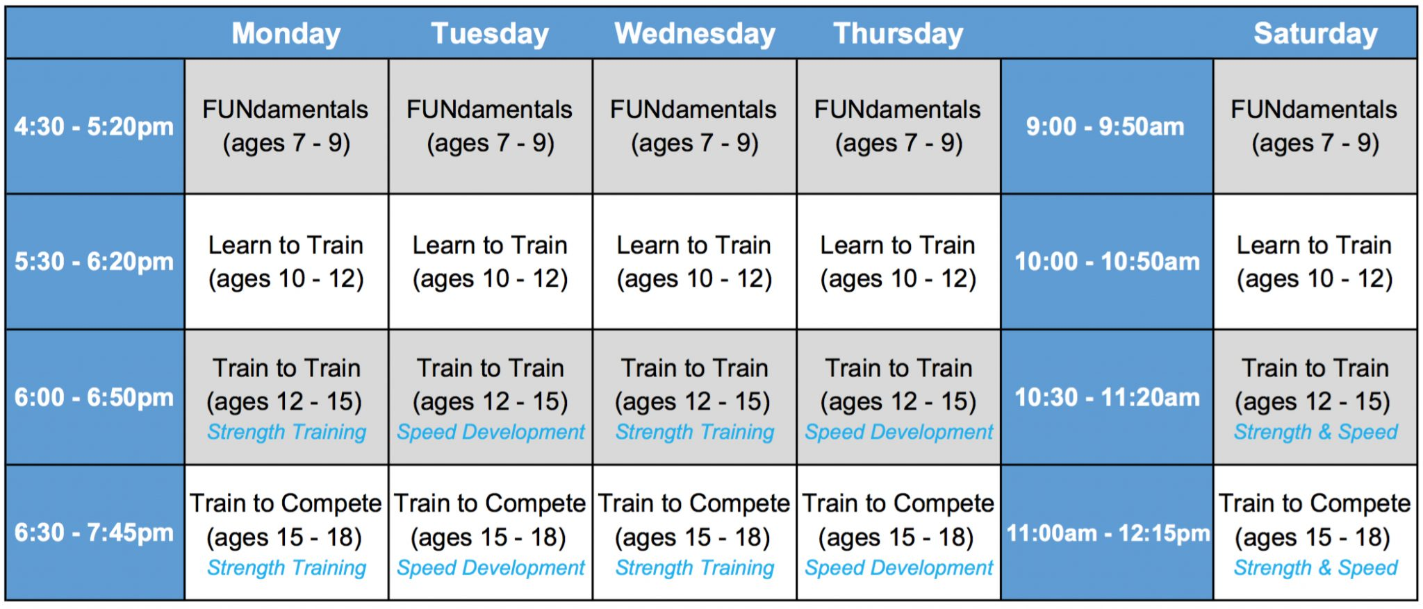 New Youth Training Schedule Begins June 12th!
